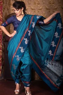 Picture of Peacock Blue Colored Festive Wear Soft Raw Silk Saree