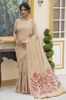Picture of Beige Colored Printed Linen Cotton Saree