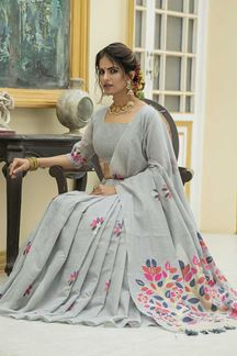 Picture of Grey Colored Printed Linen Cotton Saree
