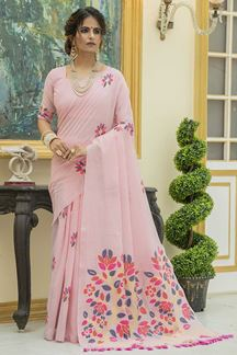 Picture of Pink Colored Printed Linen Cotton Saree