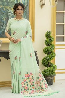Picture of Pista Green Colored Printed Linen Cotton Saree