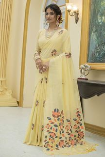 Picture of Yellow Colored Printed Linen Cotton Saree