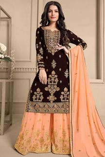 Picture of Brown & Peach Colored Designer Palazzo Suit (Unstitched suit)