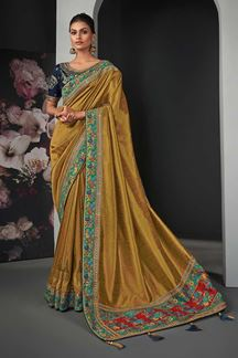 Picture of Designer Party Wear Golden Colored Silk Saree