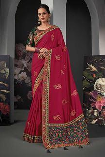 Picture of Designer Party Wear Dark Pink Colored Silk Saree