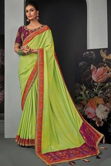 Picture of Designer Party Wear Light Green Colored Silk Saree
