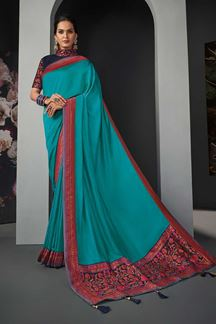 Picture of Designer Party Wear Sky Blue Colored Silk Saree