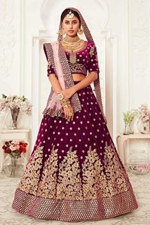 Picture of Latest Designer Purple Colored Bridal Lehenga Choli