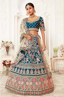Picture of Latest Designer Blue Colored Bridal Lehenga Choli