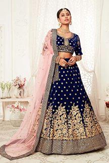 Picture of Latest Designer Navy Blue Colored Bridal Lehenga Choli