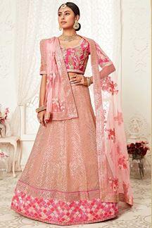 Picture of Latest Designer Pink Colored Bridal Lehenga Choli