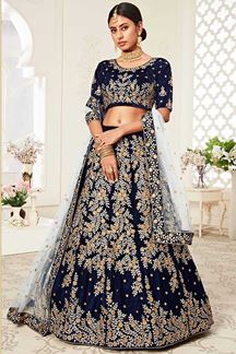 Picture of Navy Blue Colored Latest Designer Bridal Lehenga Choli