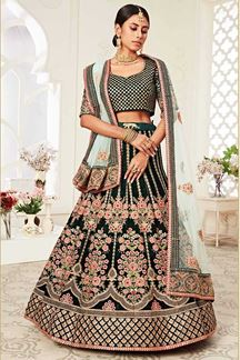 Picture of Latest Designer Green Colored Bridal Lehenga Choli