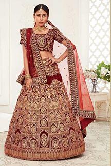 Picture of Latest Designer Red Colored Bridal Lehenga Choli