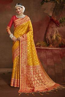 Picture of Majestic Orange & Red Colored Banarasi Silk Saree