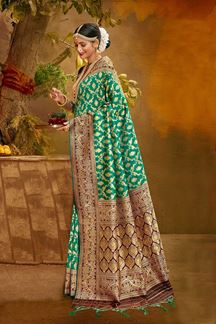 Picture of Trendy Gren & Purple Colored Banarasi Silk Saree