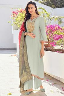 Picture of Grey Colored Partywear Embroidered Pure Silk Palazzo Suit (Unstitched suit)