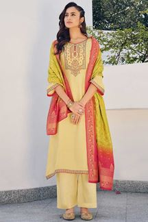 Picture of Yellow Colored Partywear Embroidered Pure Silk Palazzo Suit (Unstitched suit)