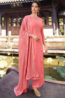 Picture of Pink Colored Partywear Embroidered Silk Palazzo Suit (Unstitched suit)