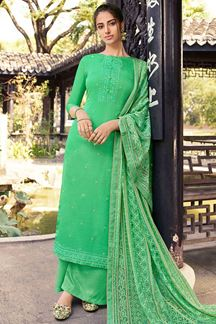 Picture of Green Colored Partywear Embroidered Silk Palazzo Suit (Unstitched suit)