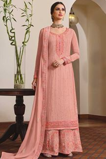 Picture of Peach Colored Partywear Embroidered Chinon Chiffon Sharara Style Suit (Unstitched suit)
