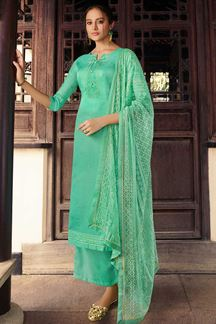 Picture of Teal Colored Partywear Embroidered Silk Palazzo Suit (Unstitched suit)