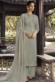 Picture of Grey Colored Partywear Embroidered Silk Palazzo Suit (Unstitched suit)