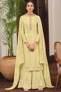 Picture of Yellow Colored Partywear Embroidered Chinon Chiffon Sharara Style Suit (Unstitched suit)
