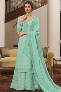 Picture of Teal Colored Partywear Embroidered Chinon Chiffon Sharara Style Suit (Unstitched suit)