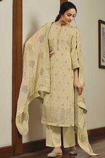 Picture of Dola Silk Designer Beige Colored Partywear Suit (Unstitched suit)