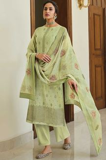 Picture of Dola Silk Designer Green Colored Partywear Suit (Unstitched suit)
