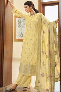 Picture of Dola Silk Yellow Designer Colored Partywear Suit (Unstitched suit)