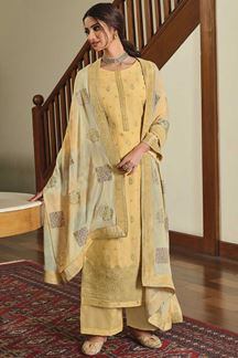 Picture of Dola Silk Designer Yellow Colored Partywear Suit (Unstitched suit)