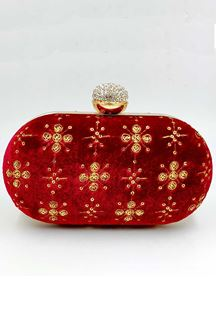 Picture of Exclusive Designer Red Colored Oval Shape Clutches