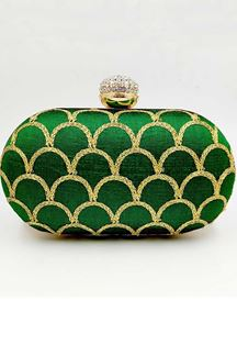 Picture of Exclusive Green Colored Designer Oval Shape Clutches