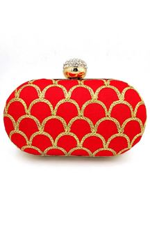Picture of Exclusive Red Colored Designer Oval Shape Clutches