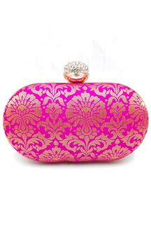 Picture of Exclusive Designer Pink Colored Oval Shape Clutches