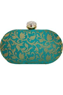 Picture of Exclusive Designer Green Colored Oval Shape Clutches