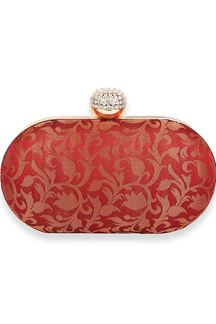Picture of Exclusive Designer Maroon Colored Oval Shape Clutches