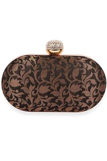 Picture of Exclusive Black Colored Designer Oval Shape Clutches