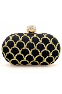 Picture of Exclusive Designer Black Colored Oval Shape Clutches