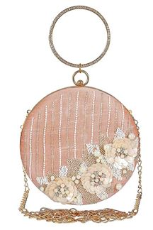 Picture of Designer Embroidered Peach Color Round Matka Clutches