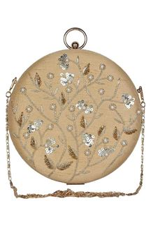 Picture of Designer Embroidered Beige Color Round Matka Clutches