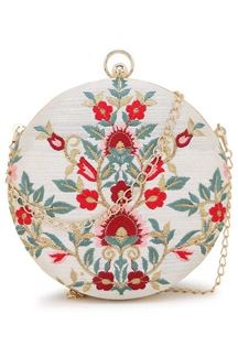 Picture of Designer Embroidered White Color Round Matka Clutches