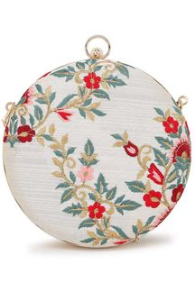 Picture of White Colored Embroidered Round Matka Heavy Clutches