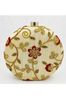 Picture of Exclusive Golden Colored Designer Round Matka Heavy Clutches