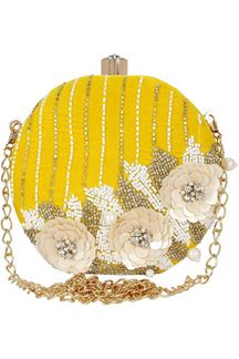 Picture of Fancy Yellow Colored Embroidered Round Matka Heavy Clutches