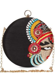 Picture of Exclusive black Colored Embroidered Round Matka Heavy Clutches