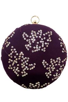 Picture of Wine Colored Embroidered Round Matka Heavy Clutches
