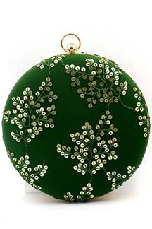 Picture of Green Colored Embroidered Round Matka Heavy Clutches